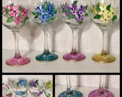 painted wine glass etsy