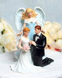 christian wedding cake toppers guardian angel with kneeling wedding