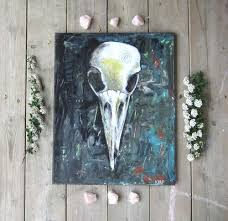 crow skull painting wiccan home decor bird skull painting