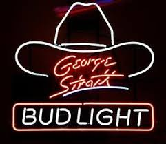 bud light neon light bud light george strait hat country music neon sign 17 x14 ebay