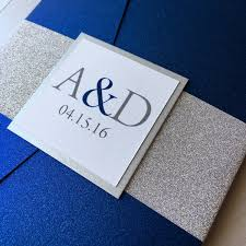 wedding invitations blue silver glitter and cobalt blue wedding invitations blue and
