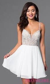 graduation white dresses illusion v neck party dress promgirl