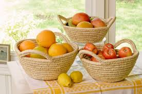 handwoven fruit bowl with natural rim prosperity shop