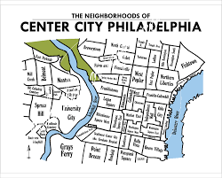 Chicago Neighborhood Map Poster by Center City Philadelphia Neighborhoods Map