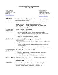 exles of chronological resumes great chronological resume exle for students contemporary entry
