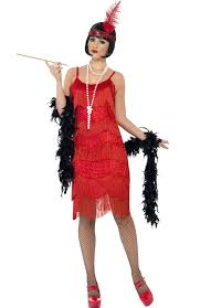 1920 Flapper Halloween Costumes Fringed Red Flapper Women U0027s Costume Red Flapper 1920 U0027s Costume