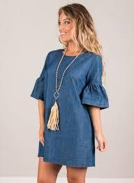 women u0027s fashion round neck flare sleeve denim mini dress novashe com