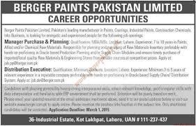 berger paints pakistan limited jobs dawn jobs ads 22 february