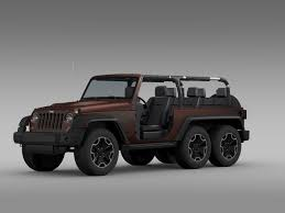 modified jeep 2017 jeep wrangler rubicon 6x6 2016 3d model cgtrader