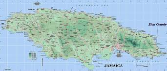 jamaica physical map large detailed road and physical map of jamaica jamaica large
