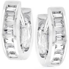 white gold huggie earrings 14k white gold 2 3ct simulated diamond huggie earrings 15mm all