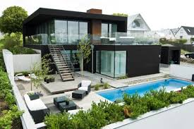 In Front Yard - contemporary home design with swimming pool in front yard also