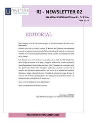 bureau des relations internationales newsletter du mois de juin 2016 du bureau des relations