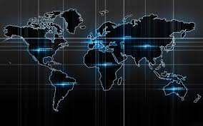 Artistic World Map by World Map In Blue And Black Background Wallpaper