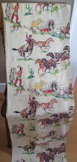 Western Fabric For Curtains Vintage Cowboys Indians Horses Western Fabric By Astringortwo