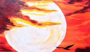 beginners painting acrylic fiery sunset sky with off kilter