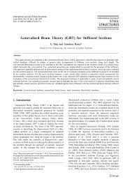 generalised beam theory gbt for stiffened sections pdf download