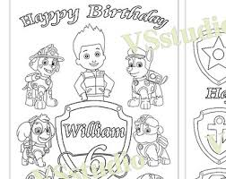 happy birthday paw patrol coloring page personalized paw patrol birthday party printable favor childrens