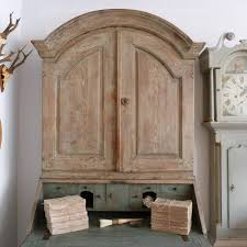 Gazi Wood Furniture Rare Swedish Rococo Period Secretaire In Original Paint In Antique