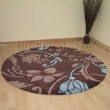Damask Round Rug Damask Circular Rugs In Brown And Duck Egg Blue Amazon Co Uk