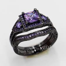 amethyst engagement ring sets get cheap black gold filled ring set purple aliexpress