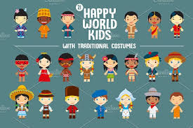 world with traditional costumes illustrations creative market
