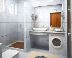 modern small bathroom two toned walls white flooring white