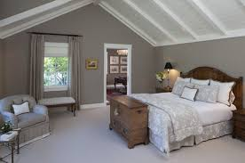 Traditional Master Bedroom - grey wall color with white vaulted ceiling for traditional master