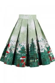christmas skirt green christmas tree print pleated a line vintage midi skirt