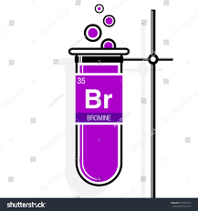 Bromine On The Periodic Table Bromine Symbol On Label Magenta Test Stock Vector 518974615