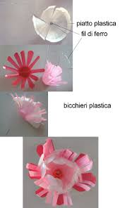 piatti e bicchieri di plastica colorati riciclo fiori di plastica da piatti e bicchieri lavoretti per