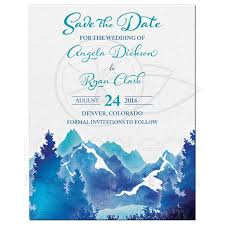 Save The Date Invitation Mountain Wedding Save The Date Invitation Watercolor Royal
