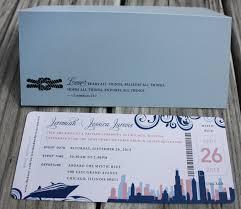 Cruise Wedding Invitations Navy Sky Blue U0026 Pink Swirls Boat U0026 Chicago Skyline Cruise Ticket