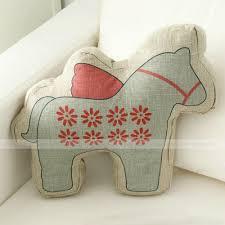 lovely cartoon daisy pattern animal horse shaped throw pillow