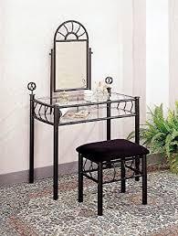 Black Vanity Table Amazon Com Sunburst Design Black Vanity Set Table Mirror And