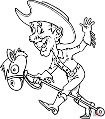 cowboy on a toy horse coloring page free printable coloring pages