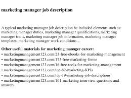 logistics manager job description marketing manager job