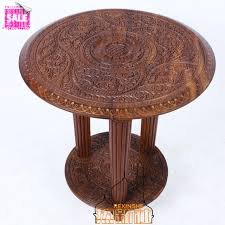 antique round coffee table pakistan imported wood carvings three leg table antique wood pure