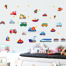 kids car wall stickers all about aliexpress com kid cartoon car plane wall stickers for