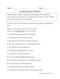 oxymoron figurative language worksheets englishlinx com board