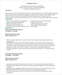 Food And Beverage Resume Template 10 Server Resumes Free Sample Example Format Download Free