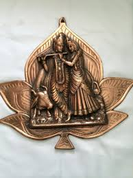 copper wall decor antique large radha krishna statue traditional