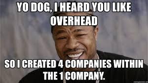 Yo Dog Meme - yo dog i heard you like overhead so i created 4 companies within