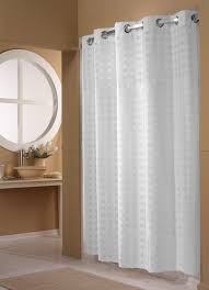 White On White Shower Curtain Basket Weave Hookless Shower Curtain Hilton To Home Hotel
