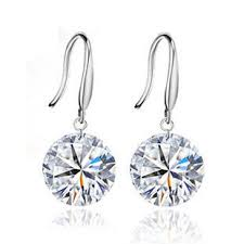 drop diamond earrings 925 sterling silver and sparkling h a swiss diamond drop earrings