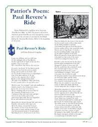 paul revere s ride book paul revere s ride reader theater script rubrics worksheets