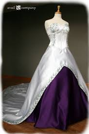 white and purple wedding dress with green embroidery custom