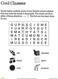 subject word search worksheet education com