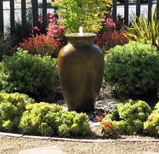 unique jug right for stunning front yard fountain with nice gravel