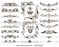 scroll works design ornamental decorative frames vector